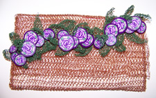 crocheted copper wire, steel wire & polymer clay rose cane clutch purse